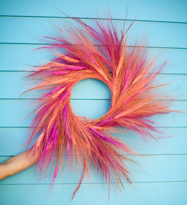 Color dyed wheat wreath