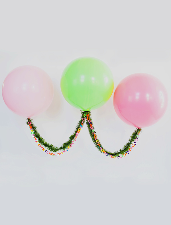 Float holiday garland with extra large balloons!