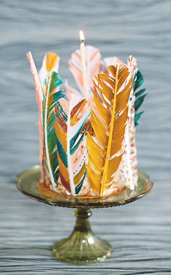 Painted Feather Cake • A Subtle Revelry