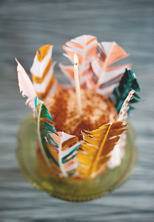 Painted feather lined cake (click through for the tutorial).