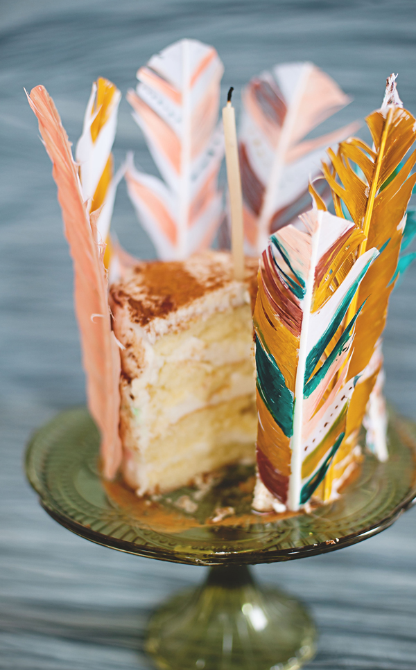 Painted feather lined cake