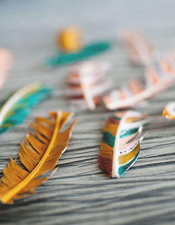 Painted faux feathers for pretty fall decor