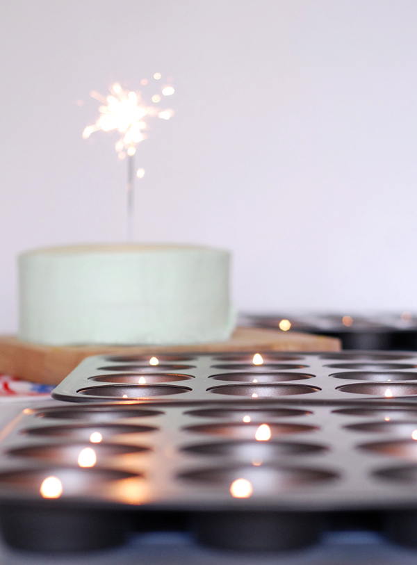 Tea lights in cupcake trays for the party table.