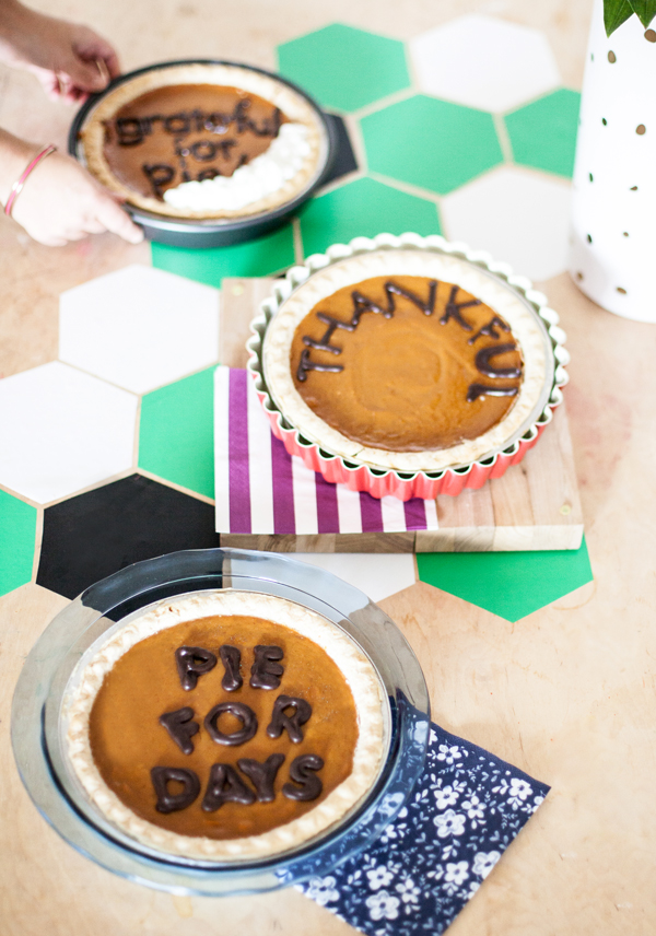 Last minute party idea: Chocolate letter topped pies!