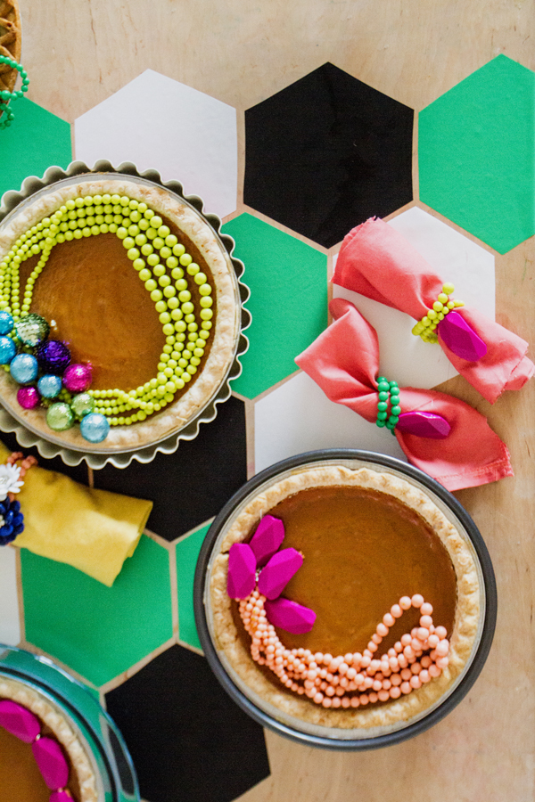 Party tip: Use old necklaces to top holiday pies.