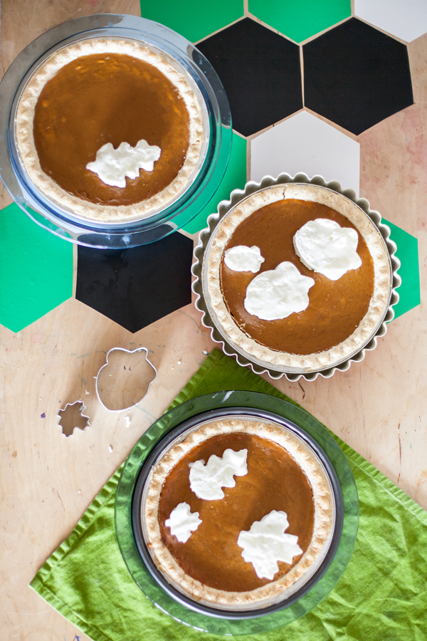 Freeze whip cream and make cut-outs with cookie cutters to top pies!
