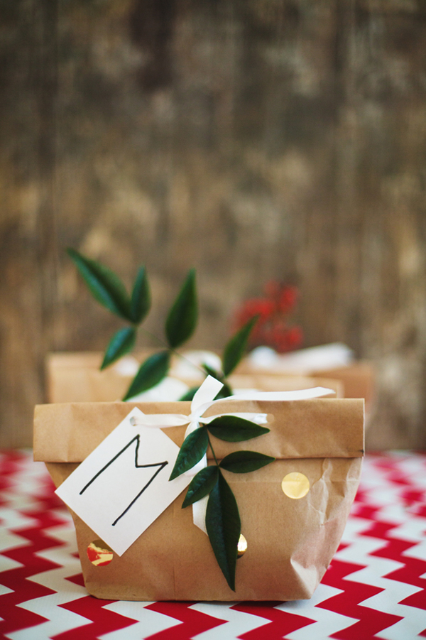 Paper bag holiday favors