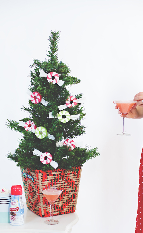 Peppermint ornaments made with pool noodles