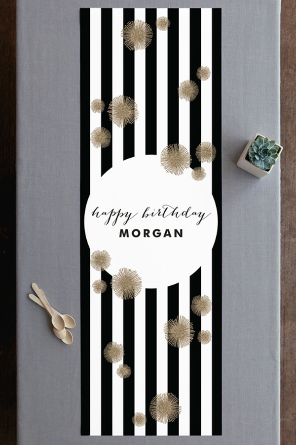 Custon print birthday table runner