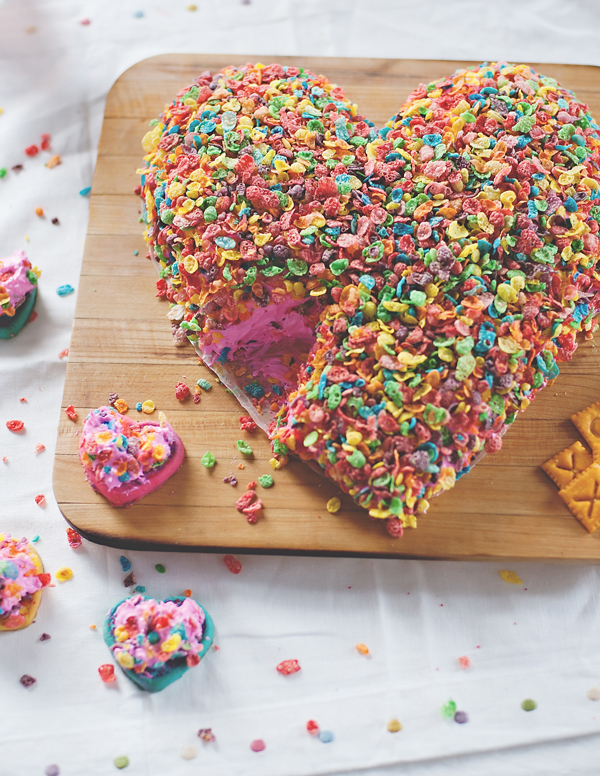 The best ever cream cheese dip cake covered in fruity pebbles!