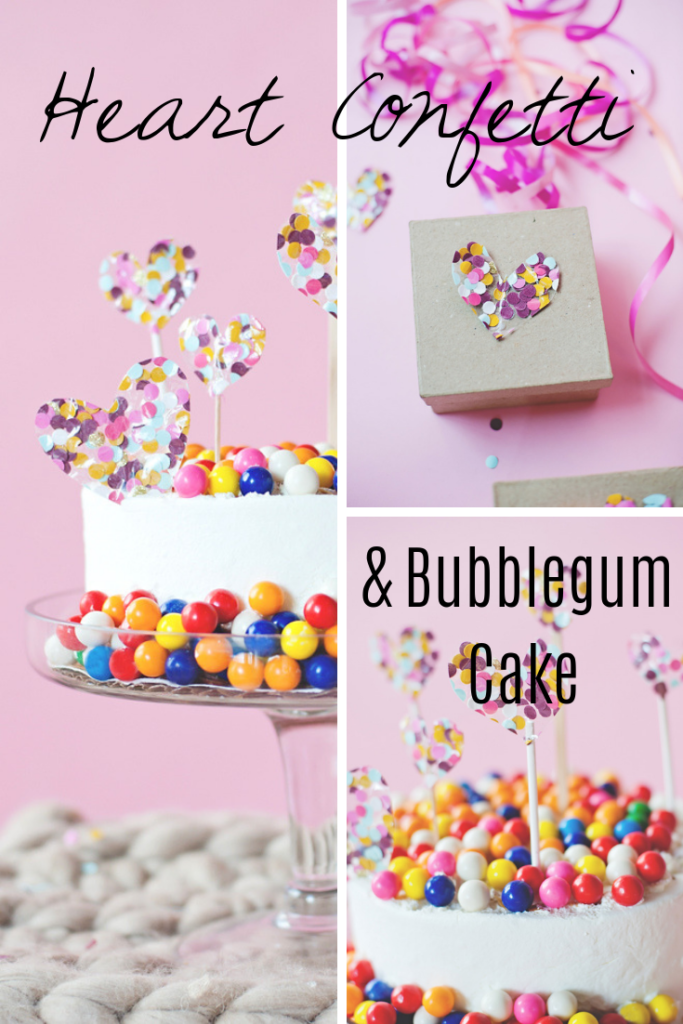 Heart Confetti and Bubble gum cake