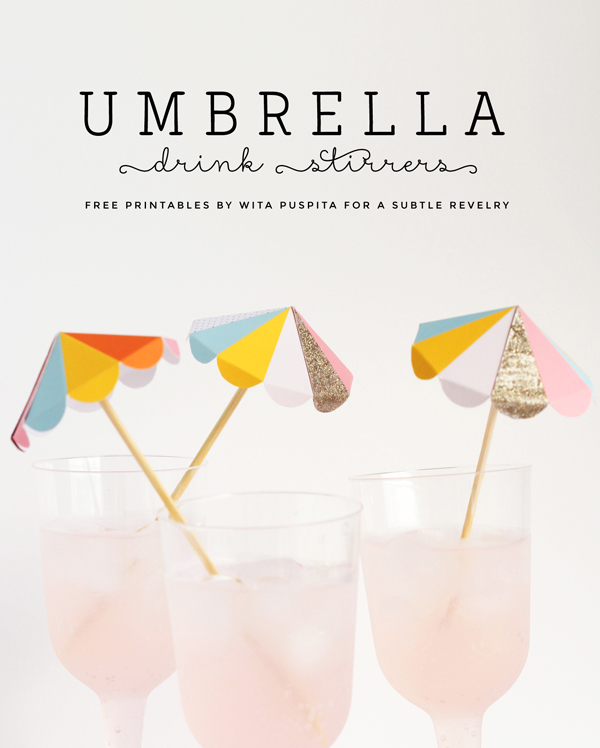 Colorful umbrella drink stirs >> Free to print