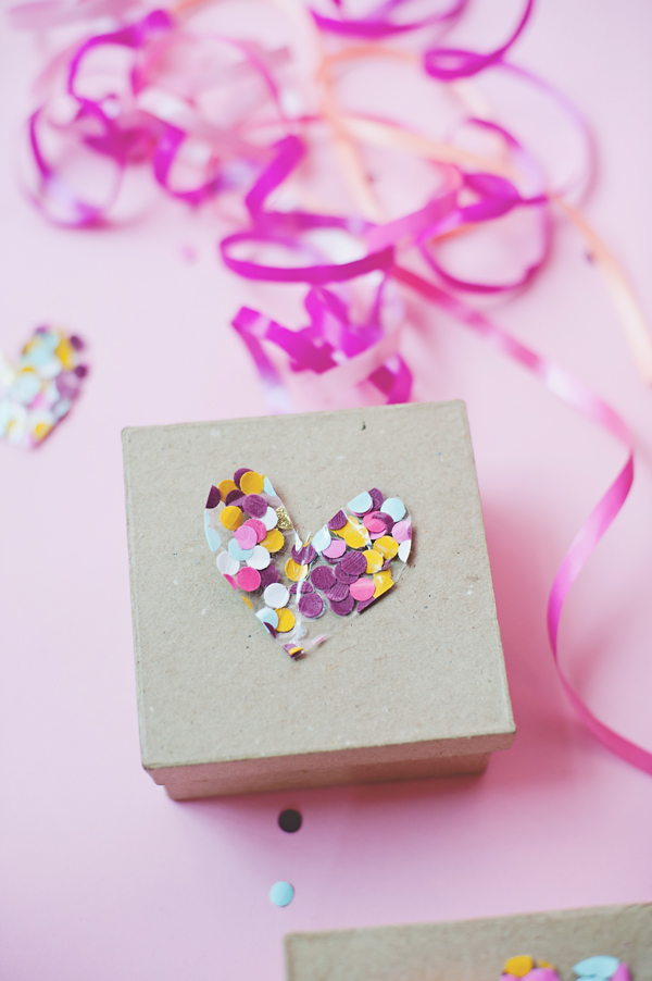 Confetti heart made with packing tape.