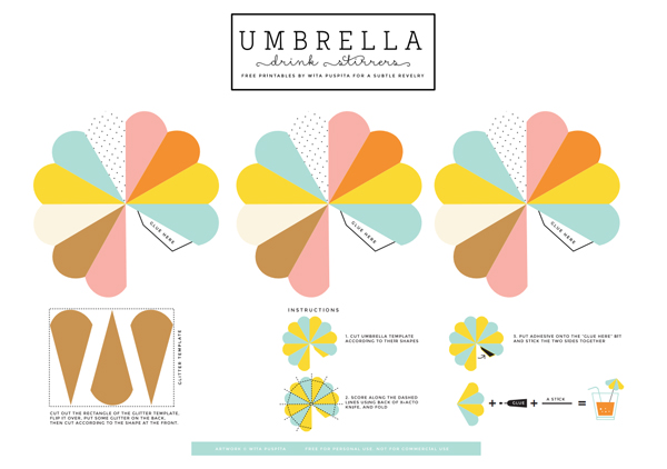 Paper umbrella drink stirs A Subtle Revelry – Umbrella Template