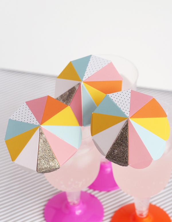 Paper umbrella drink stirs. Free printable!