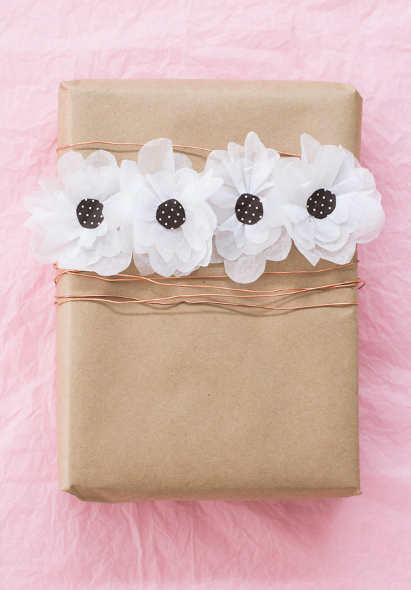 Paper flower gift wrap