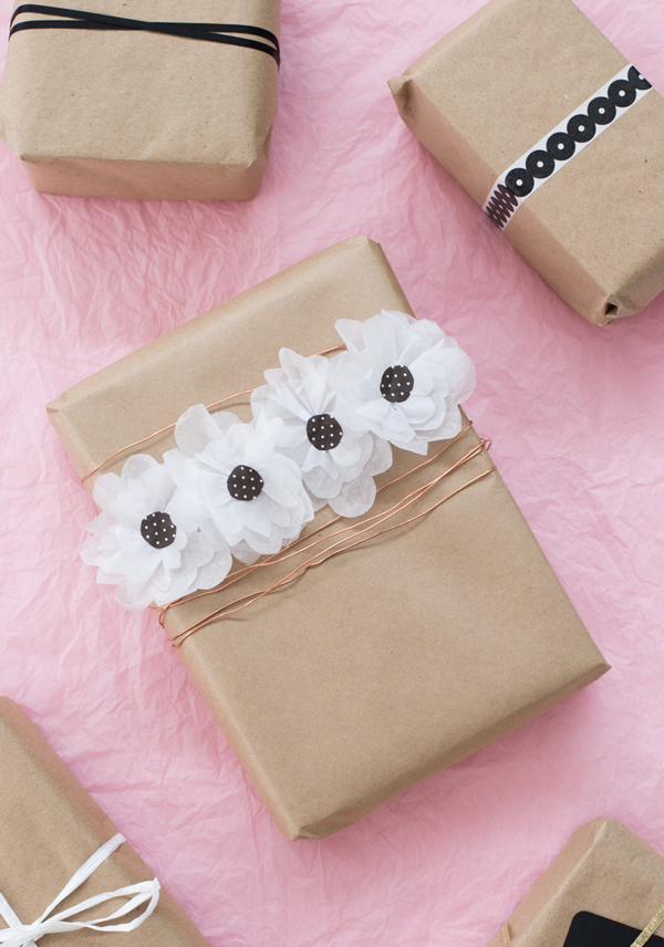 Paper flower gift wrap tutorial