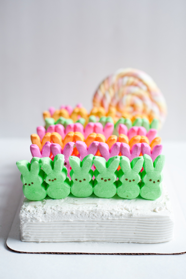 Easter cake with bunny peeps