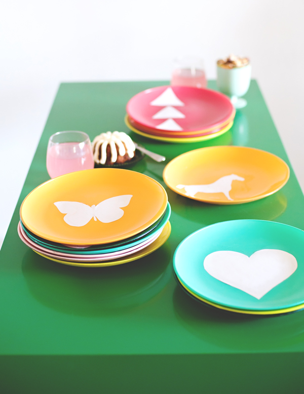 colorful painted plates