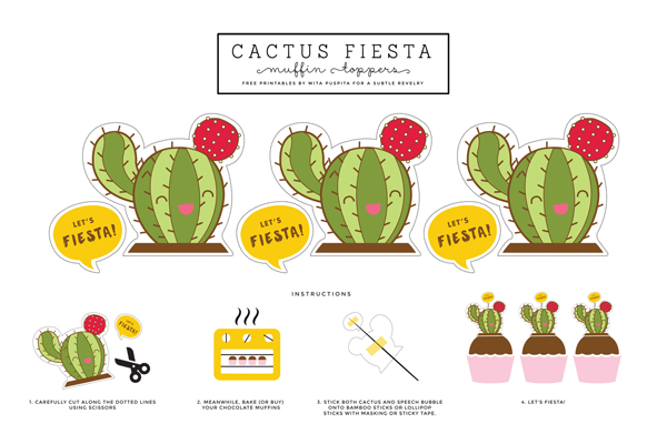 Cactus Fiesta Cupcake Toppers A Subtle Revelry