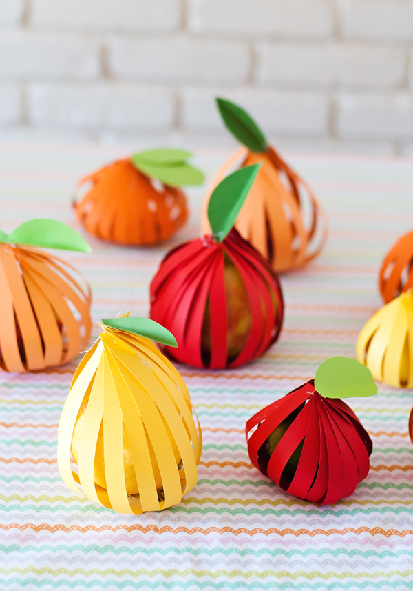 Paper wrapped fruit party favors
