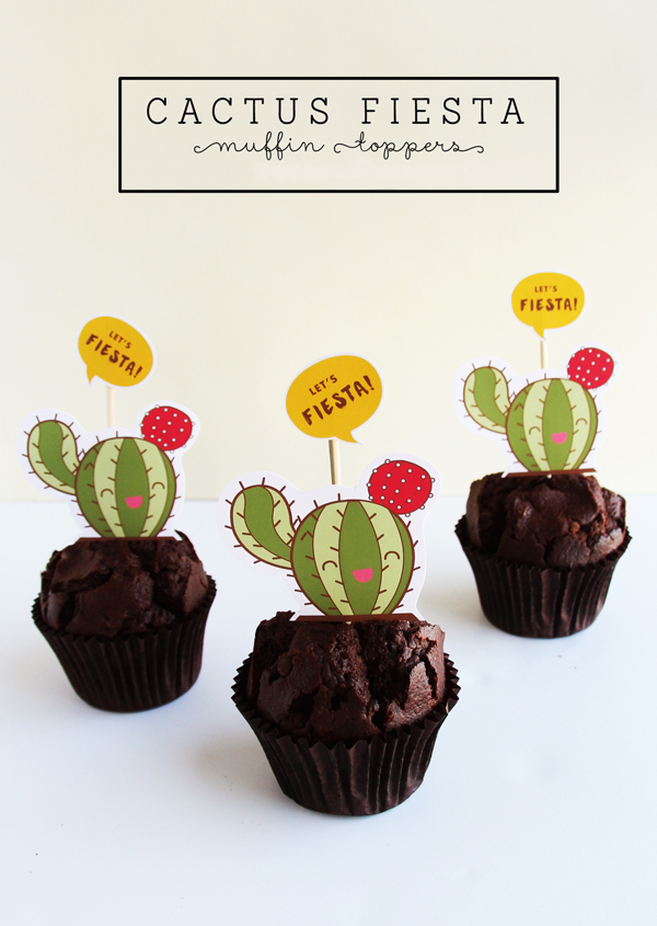 Cactus fiesta cupcake toppers