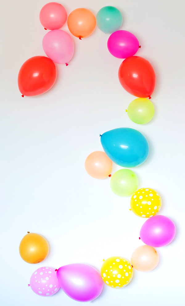 Make a balloon number on the wall!