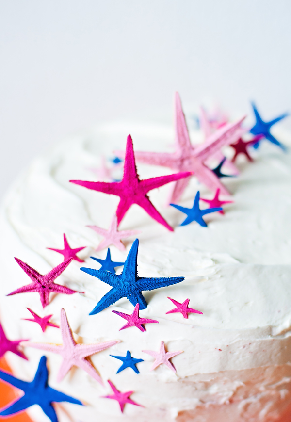 Painted starfish cake toppers