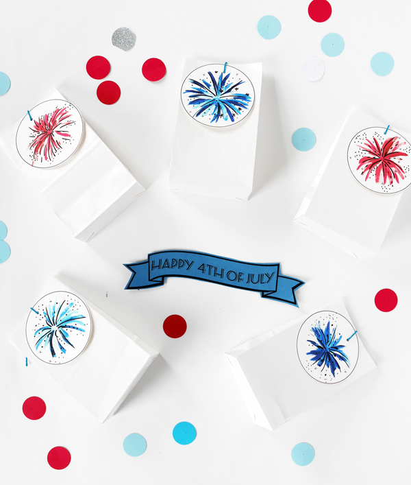 Printable firework favor bags