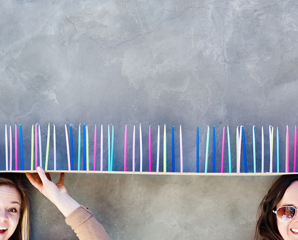 Pegboard birthday candle holder (it's 10 feet long!!!!)