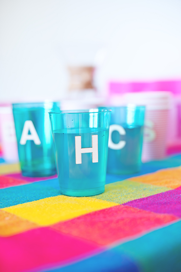 Wooden letters as drink markers