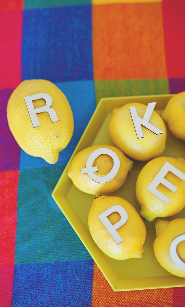 letters on lemons - fun seating card idea