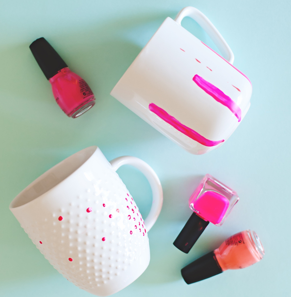 Nail polish painted mugs