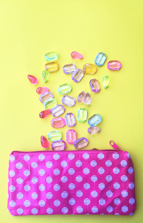 Organize small gems in pretty pencil bags! Click for more organizing tips...