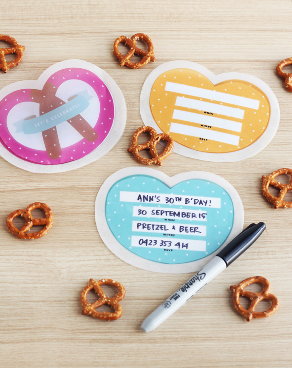 Soft pretzel party invitations