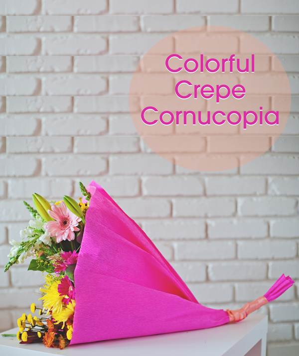 Colorful Crepe Paper Cornucopia