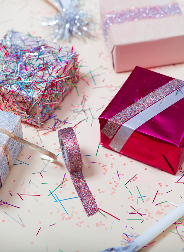 Glitter tape wrapping