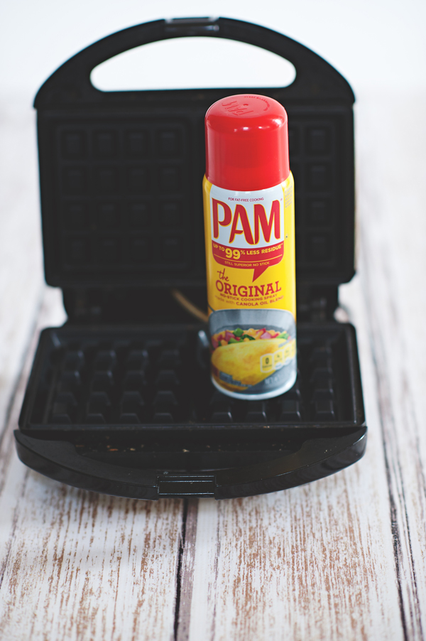 Spray the waffle maker with Pam for perfect waffles every time!