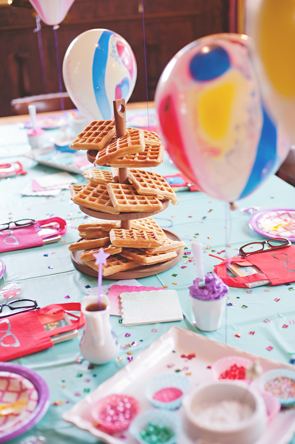 A waffle bar birthday party