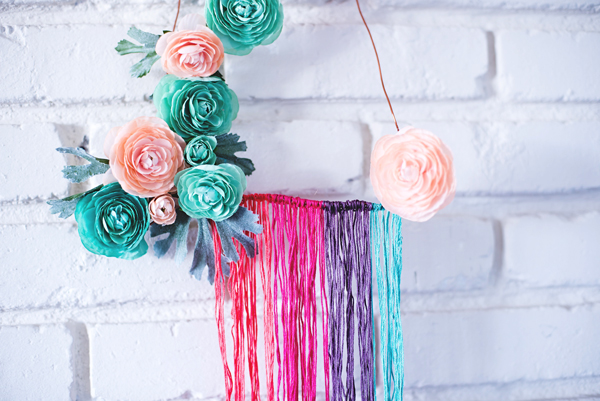Vibrant Rainbow Thread Wreath