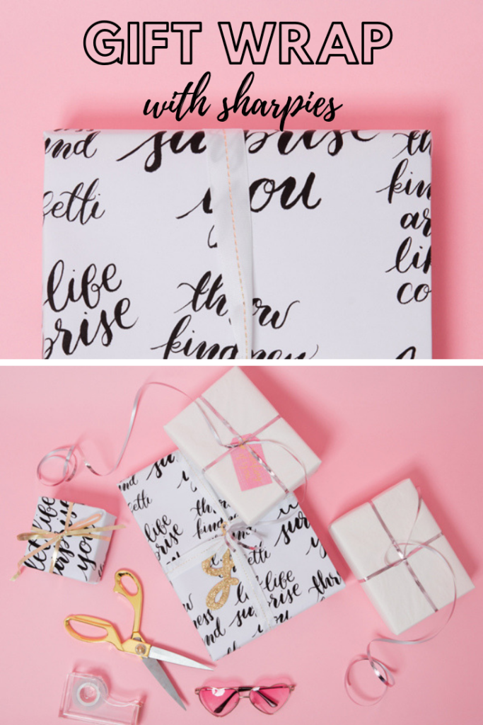 DIY gift wrap with sharpies