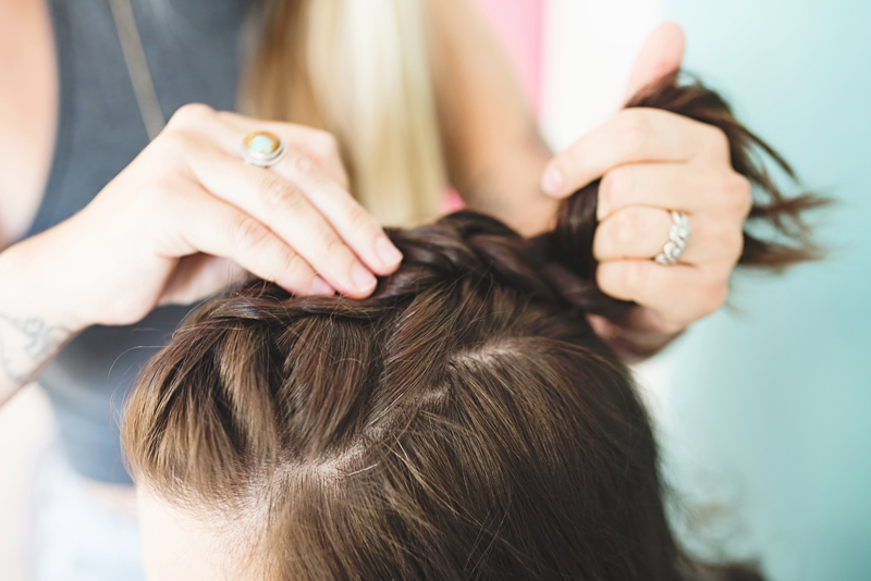 how to style Half-up Top Knot French Braid