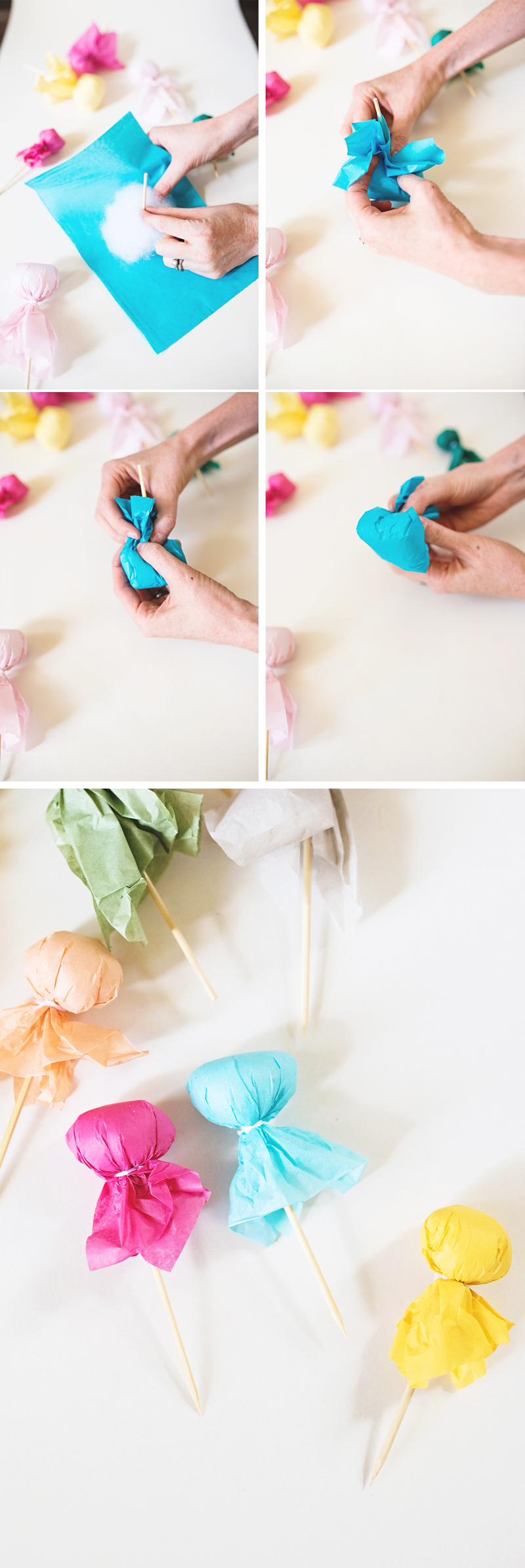 Colorful Ghost Cake Toppers