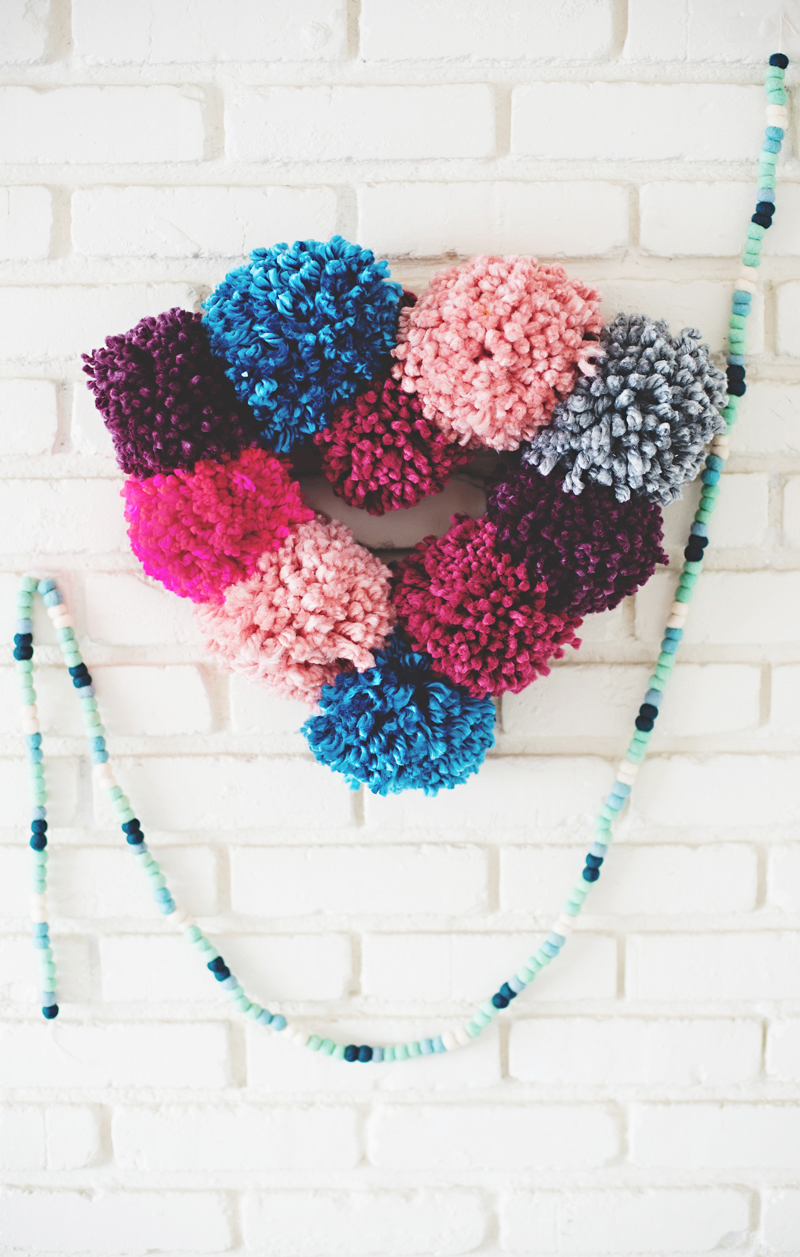 Pompom Heart Wreath