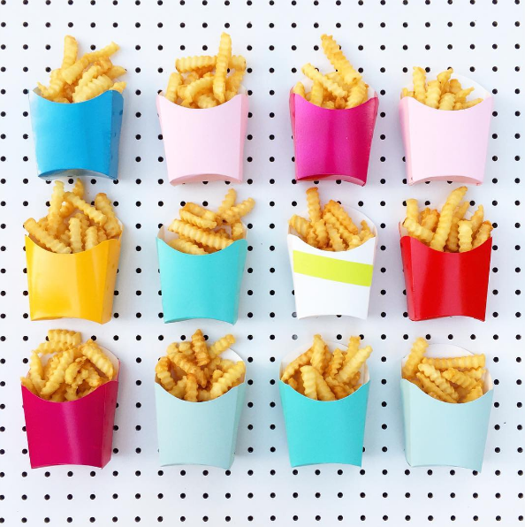 Fries on a pegboard