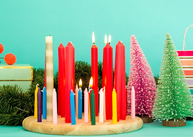Colorful Advent Candle Wreath