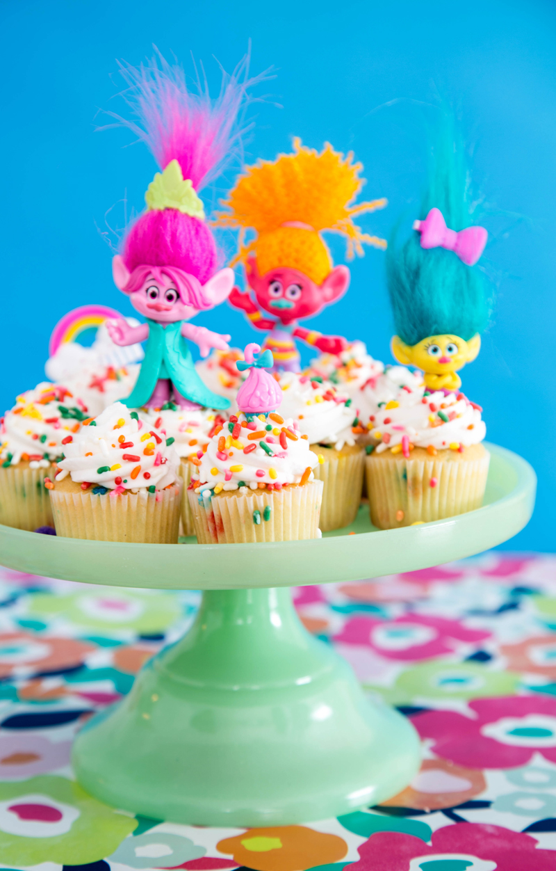 Sprinkle Dyed Cupcakes