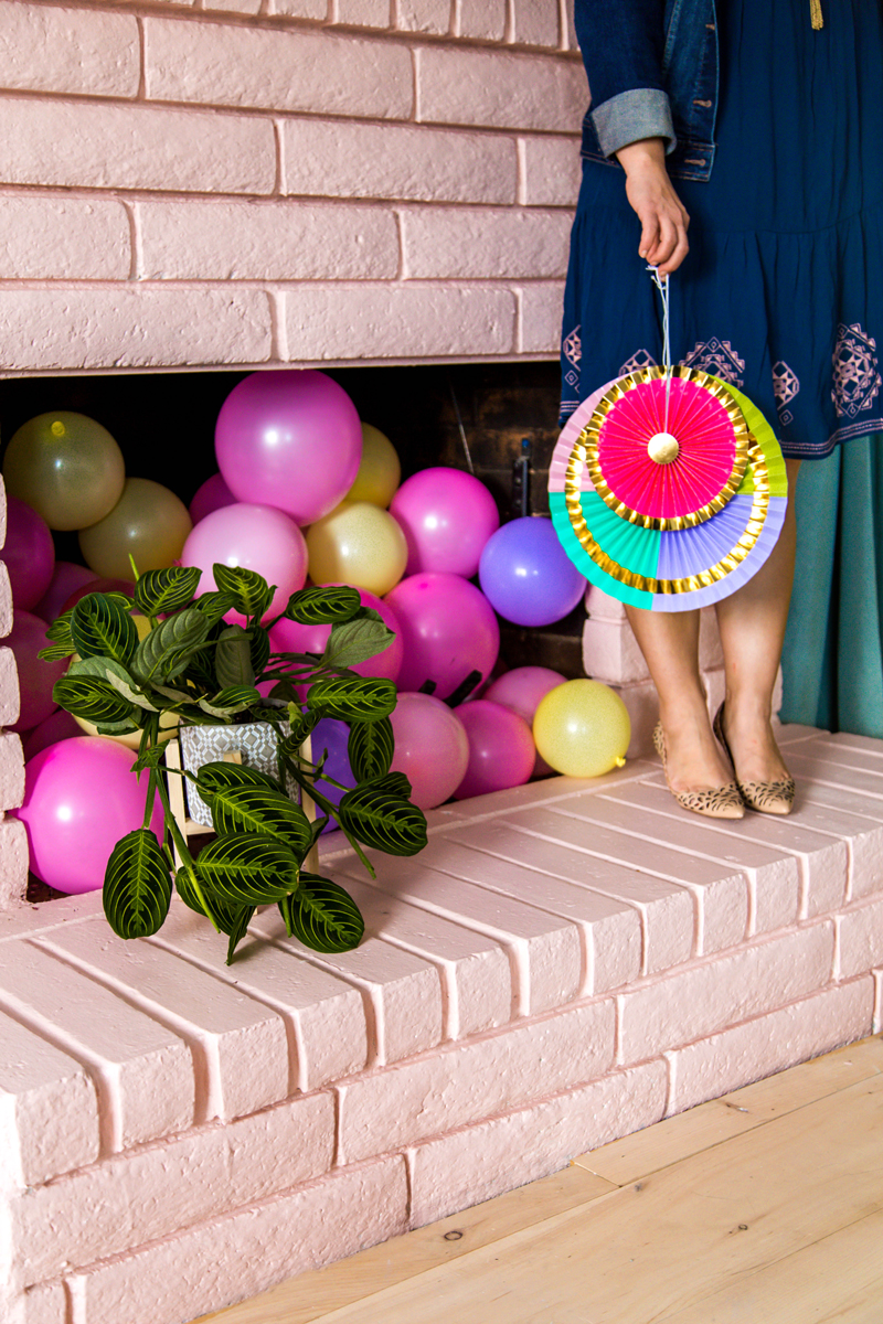 Pink balloon filled fireplace - LOVE
