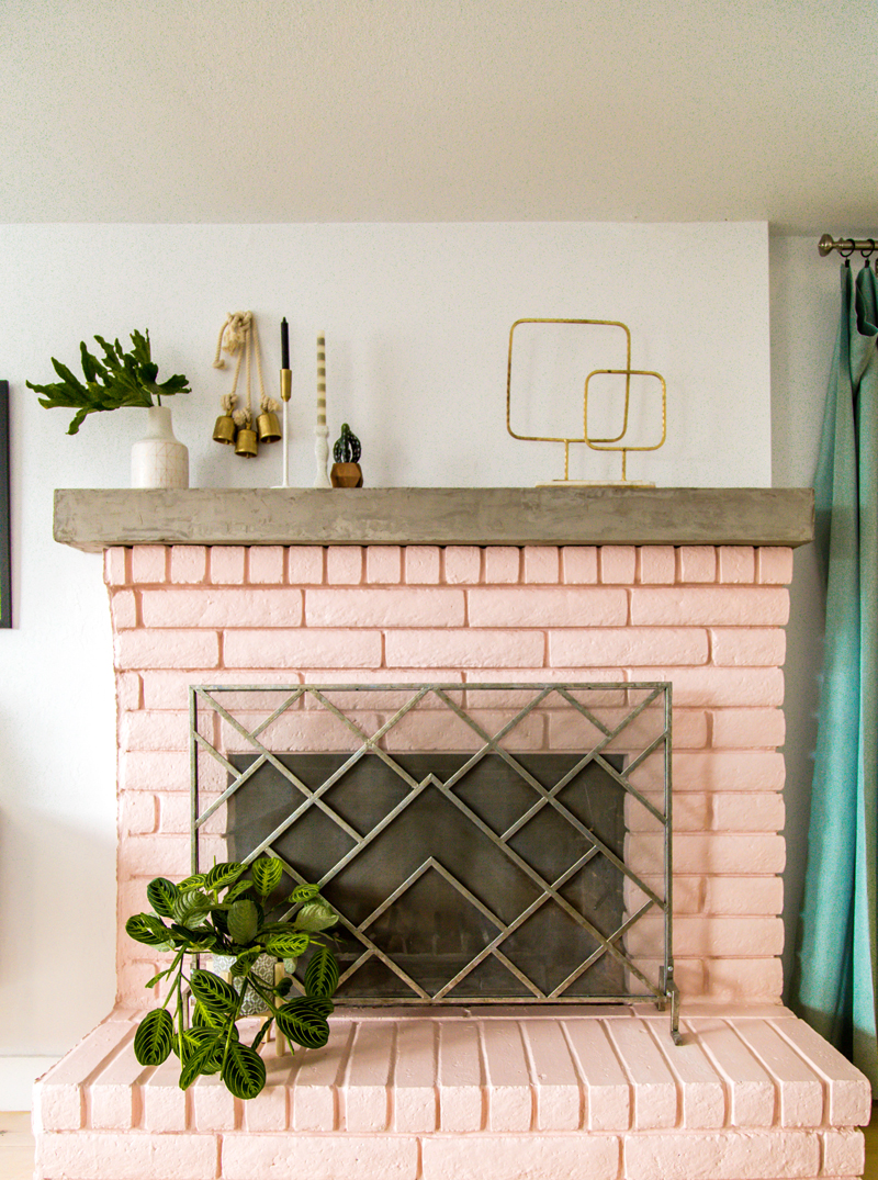DIY Concrete Fireplace Mantel