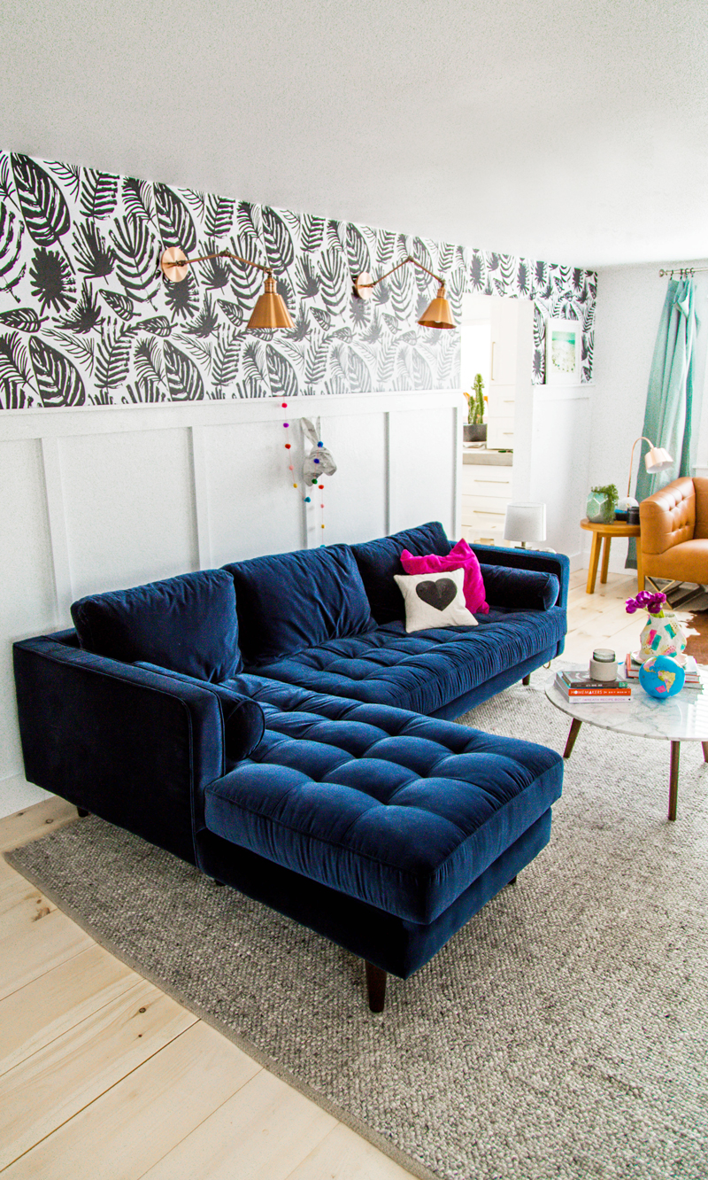Living Room with Blue Sofa Decorating Ideas